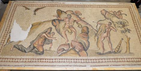 Ancient mosaic depicting Hercules