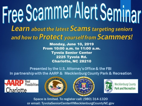 Flyer for Seminar at Tyvola Senior Center