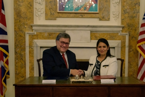 Attorney General William Barr and UK Home Secretary Priti Patel