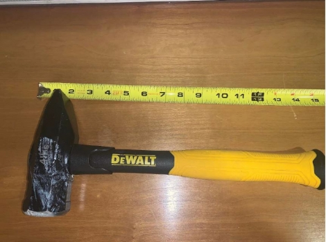 4 lb DeWalt construction hammer seized from Gaines