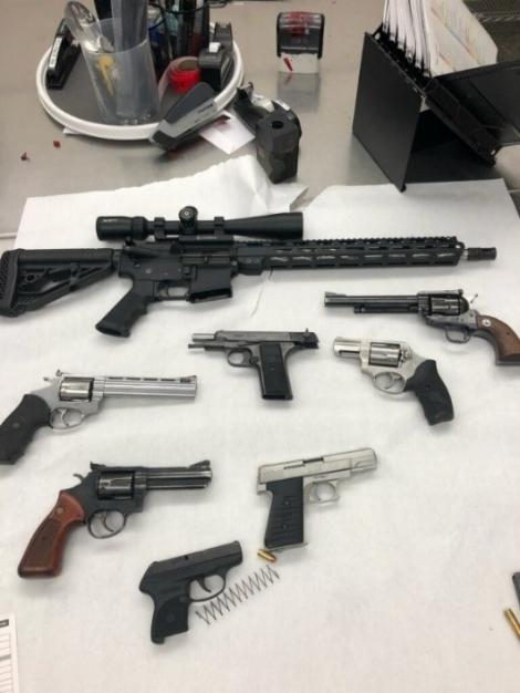 Seized firearms.