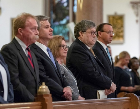 Attorney General William P. Barr, Deputy Attorney General Rod Rosenstein, and FBI Director Christopher Wray attended the Blue Mass on Tuesday, May 7, 2019 to remember first responders who have fallen in the line of duty