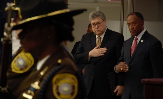 Attorney General William P. Barr pictured with U.S. Marshal Director Donald Washington at U.S. Marshals Service National Police Week Memorial Service on Friday, May 10, 2019.