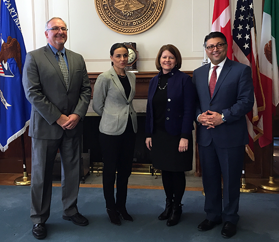 Canadian Competition Bureau Commissioner of Competition John Pecman, Mexican Federal Competition Commission President Alejandra Palacios Prieto, U.S. Federal Trade Commission Acting Chairman Maureen Ohlhausen, and U.S. Department of Justice Assistant Attorney General for Antitrust Makan Delrahim