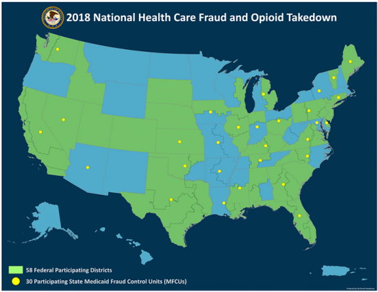 Map of the U.S. showing 58 federal participating districts and 30 participating state medicaid fraud control units