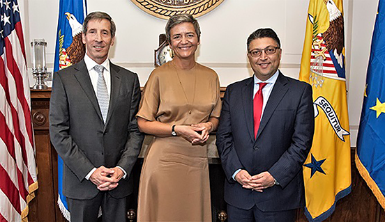 FTC Chairman Joseph Simons, EU Competition Commissioner Margrethe Vestager, and Assistant Attorney General Makan Delrahim
