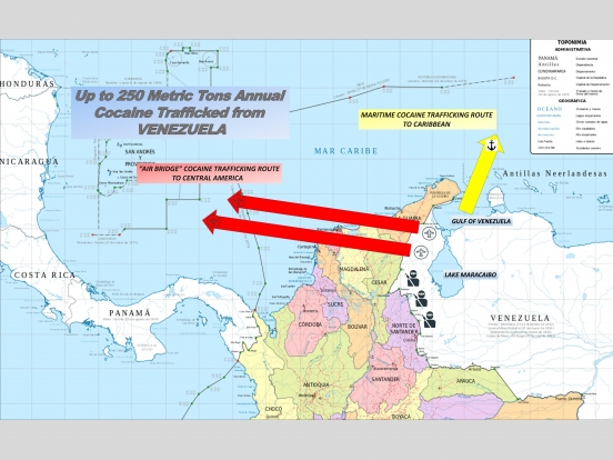 """Map showing up to 250 Metric Tons Annual Cocaine Trafficked from Venezuala via """"Air Bridge"""" cocaine trafficking route to Central America and a Maritime Cocaine Trafficking Route to Caribbean"""