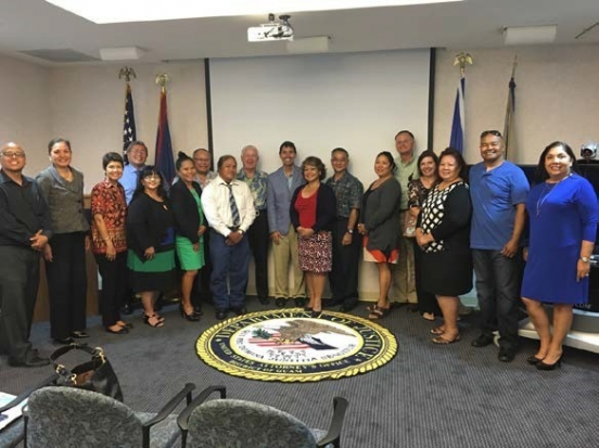 Picture of Trainer Michael G. Santos with Professional Staff at training held at the U.S. Attorney's Office in Guam