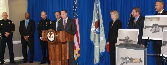 U.S. Attorney Russell Coleman joined by law enforcment announcing federal indictments