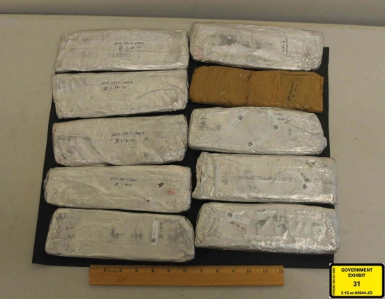 Heroin bricks packaged for transport