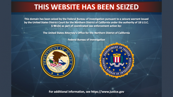 "The message reads ""This Website Has been Seized."""