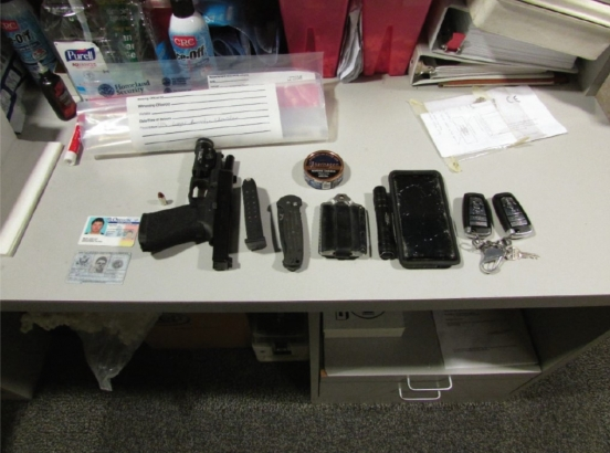 Items seized from Melby after arrest