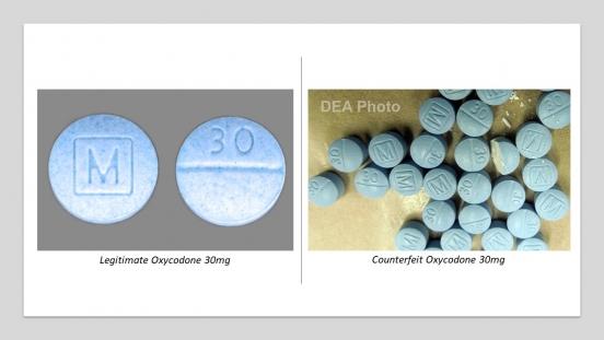 Legitimate Oxycodone versus counterfeit Oxycodone pills