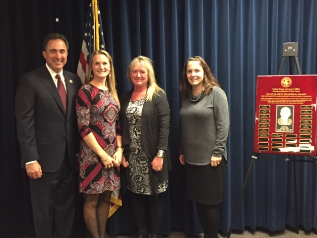 U.S. Attorney Richard S. Hartunian at the award ceremony with Vanessa Gambelunghe, Christine Cullen, and Michelle Jaeger.