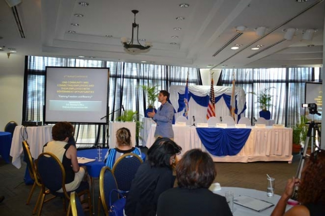 "Picture of Trainer Michael G. Santos at the ""Earning Freedom and Reentry"" session at the ""Employment and Reentry – Connecting Employers and Their Employees with Government Opportunities"" Conference in Saipan, NMI"