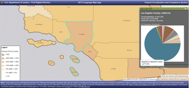 Map of Los Angeles County showing number and percent of LEP individuals