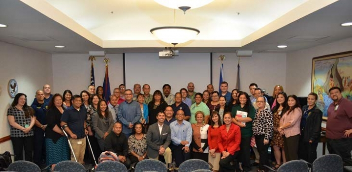 Picture of Community stakeholders with Trainer Michael G. Santos and U.S. Attorney Alicia Limtiaco held at the U.S. Attorney's Office in Guam