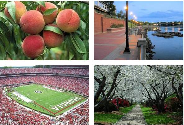 Middle District of Georgia Image Collage: Peaches, Boardwalk, Football Stadium and Park