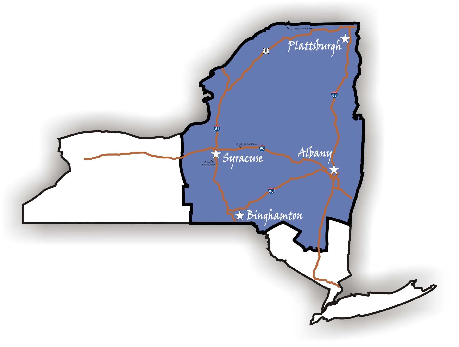 Map Of New York District Courts.About The District
