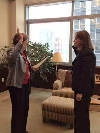 Chief U.S. Dsitrict Judge Marsha J. Pechman administering the oath of office for Acting U.S. Attorney Annette L. Hayes