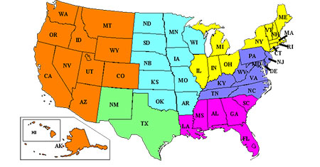 Civil Trial Sections Geographical Map