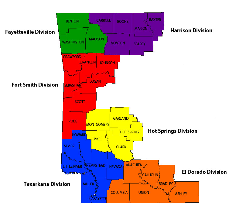 Western District of Arkansas District Map