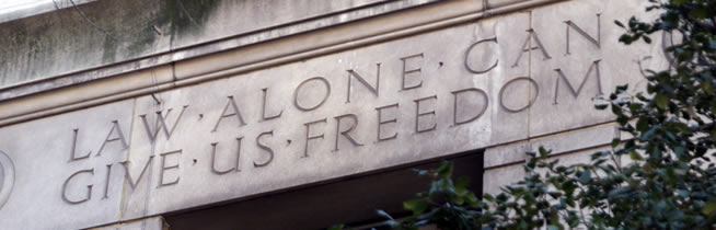 "Department of Justice Headquarters Engraving - ""Law Alone Can Give Us Freedom"""