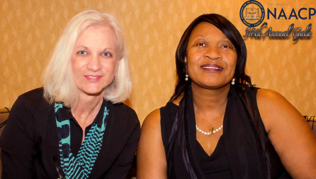 After speaking about Civil Rights to a group at the NAACP East County Gala, United States Attorney Melinda Haag poses for a picture with Odessa Lefrancois, the organization's president.  U.S. Attorney Haag was the Keynote speaker at the Gala, which was held on April 21, 2012, at the Crowne Plaza Hotel in Concord, Calif.