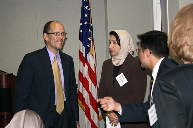 Assistant U.S. Attorney General for the Civil Rights Division Tom Perez visits with Maha Elgenaidi, President of the Islamic Network Group (ING) and Michael Pappas, San Francisco Human Rights Commissioner