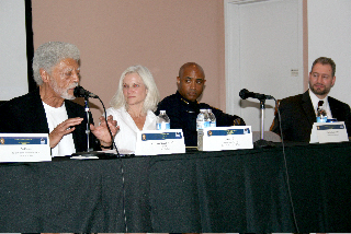 Oakland Mayor Ron Dellums, U.S. Attorney Melinda Haag, Oakland Police Chief Anthony Batts, Dr. Phelan Wyrick, Senior Advisor to Assistant U.S. Attorney General Laurie Robinson