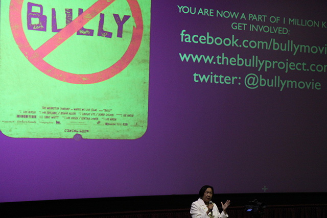 Mayor Quan addresses students before the screening of Bully