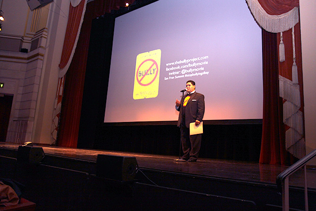 SFUSD Superintendent Richard Carranza speaks to students before the film