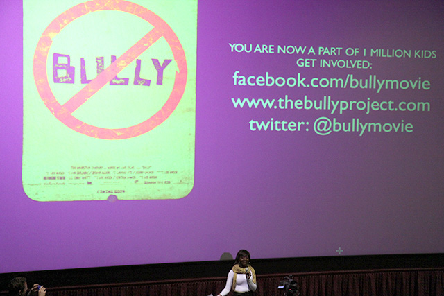 Student leader speaks to fellow students about bullying