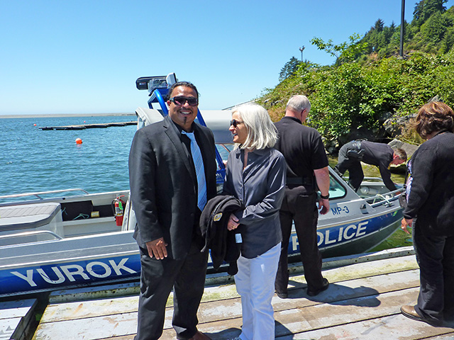 U.S. Attorney Melinda Haag with Javier Kinney, Director of the Office of Self Governance of the Yurok Tribe.