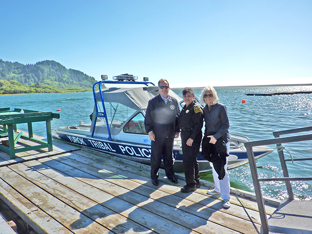 U.S. Attorney Melinda Haag with U. S. Marshal Donald O'Keefe and Yurok Tribal Police Chief Mary McQuillen pictured while visiting the Yurok reservation.