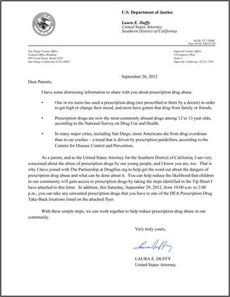 Letter From U.S. Attorney Laura Duffy