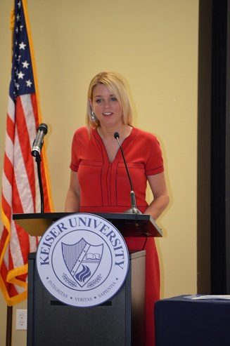 Florida Attorney General Pam Bondi addresses group