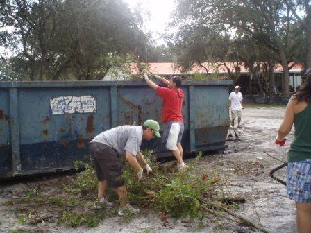Volunteers clearing the brush