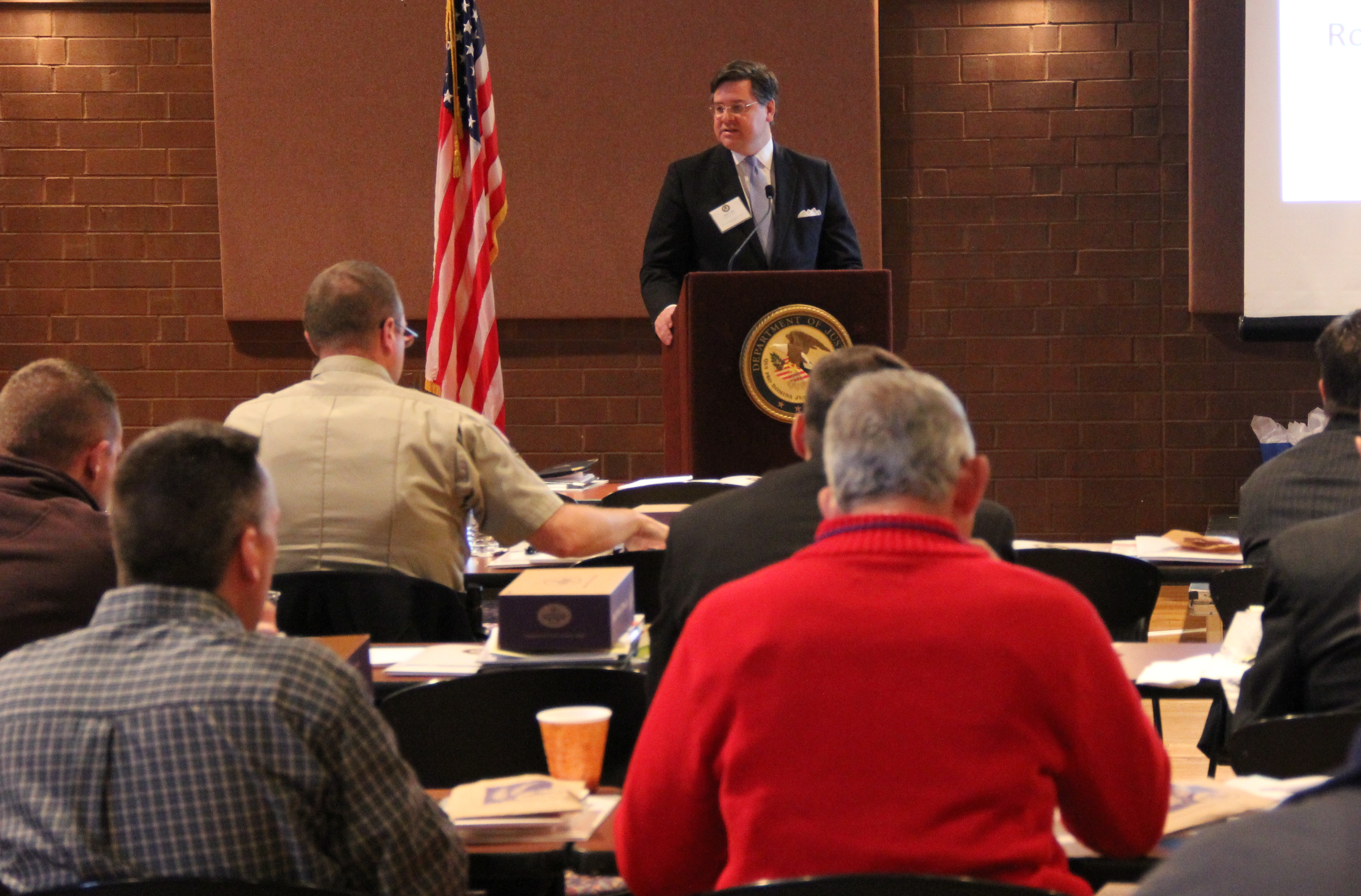 U.S. Attorney Hale speaks at the law enforcement training session in Owensboro, Kentucky