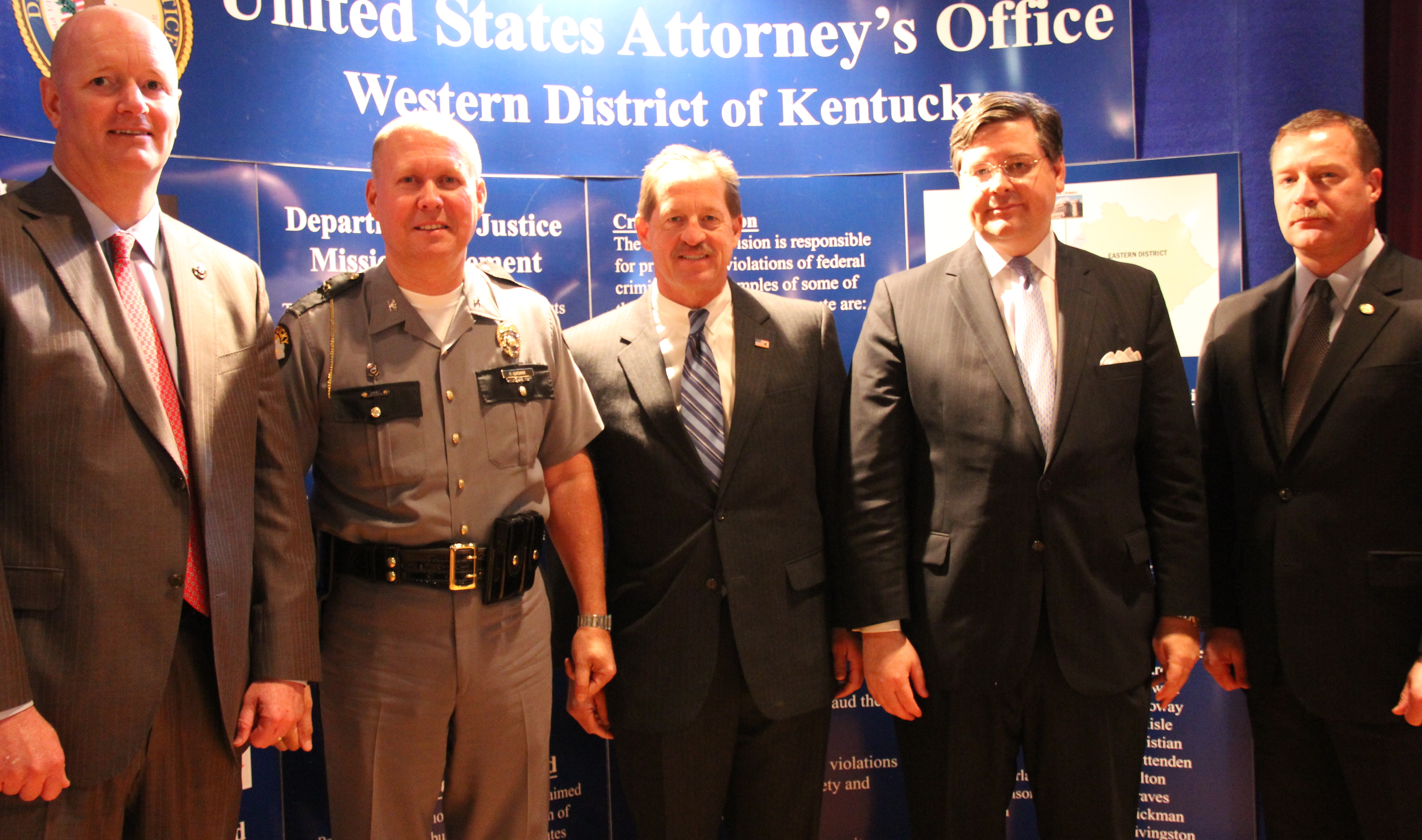 James Clark, United States Marshal-WDKY; Rodney Brewer, Kentucky State Police Commissioner; Paul Johnson, USSS Special Agent in Charge; David J. Hale, United States Attorney-WDKY; Stuart L. Lowrey, ATF Special Agent in Charge