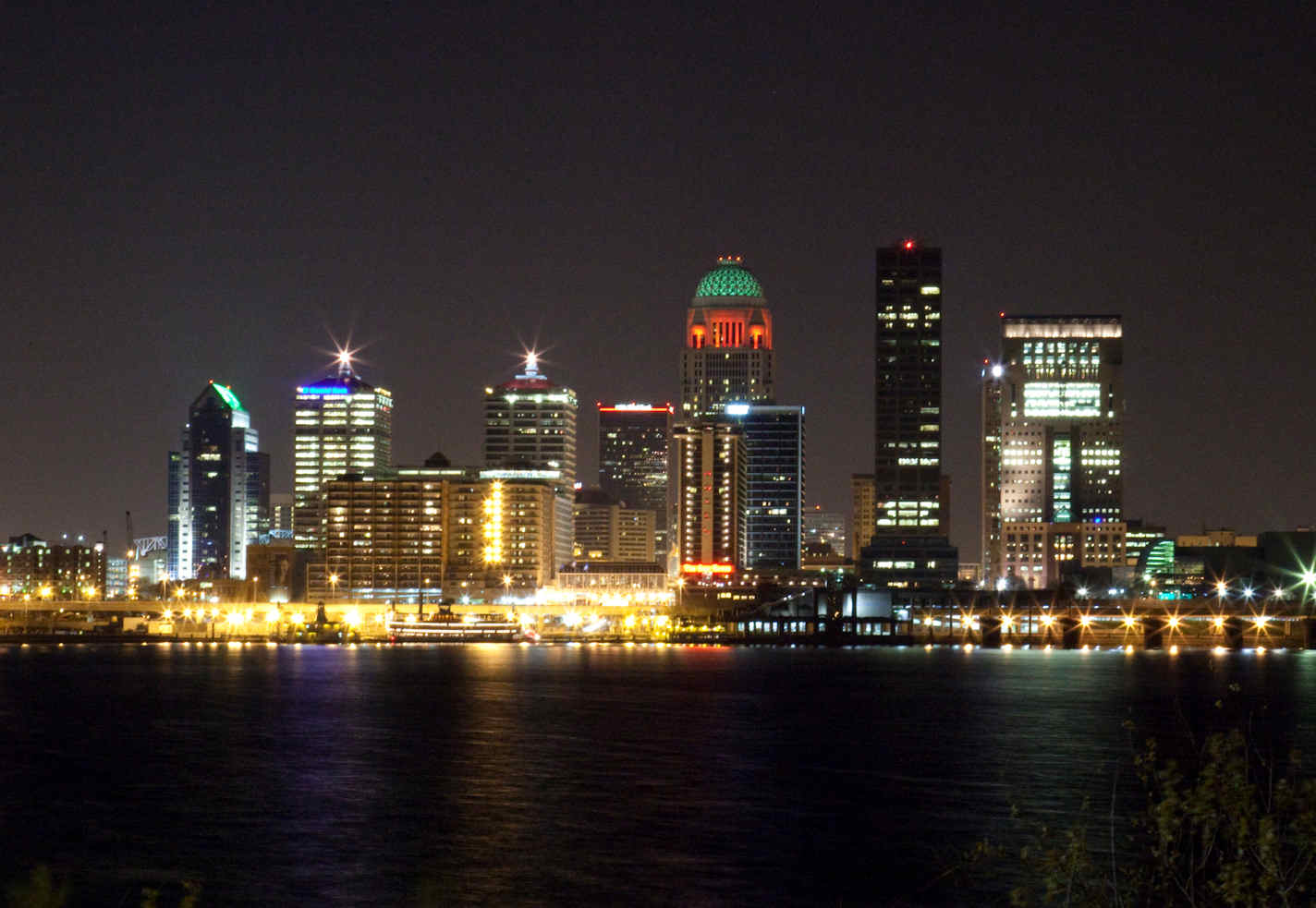 Downtown Louisville skyline at night