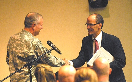 Assistant Attorney General of the Department of Justice's Civil Rights Division Thomas E. Perez and Staff Judge Advocate Col. Robert J. Cotell met with soldiers at Ft. Knox to discuss rights of servicemembers and their families.