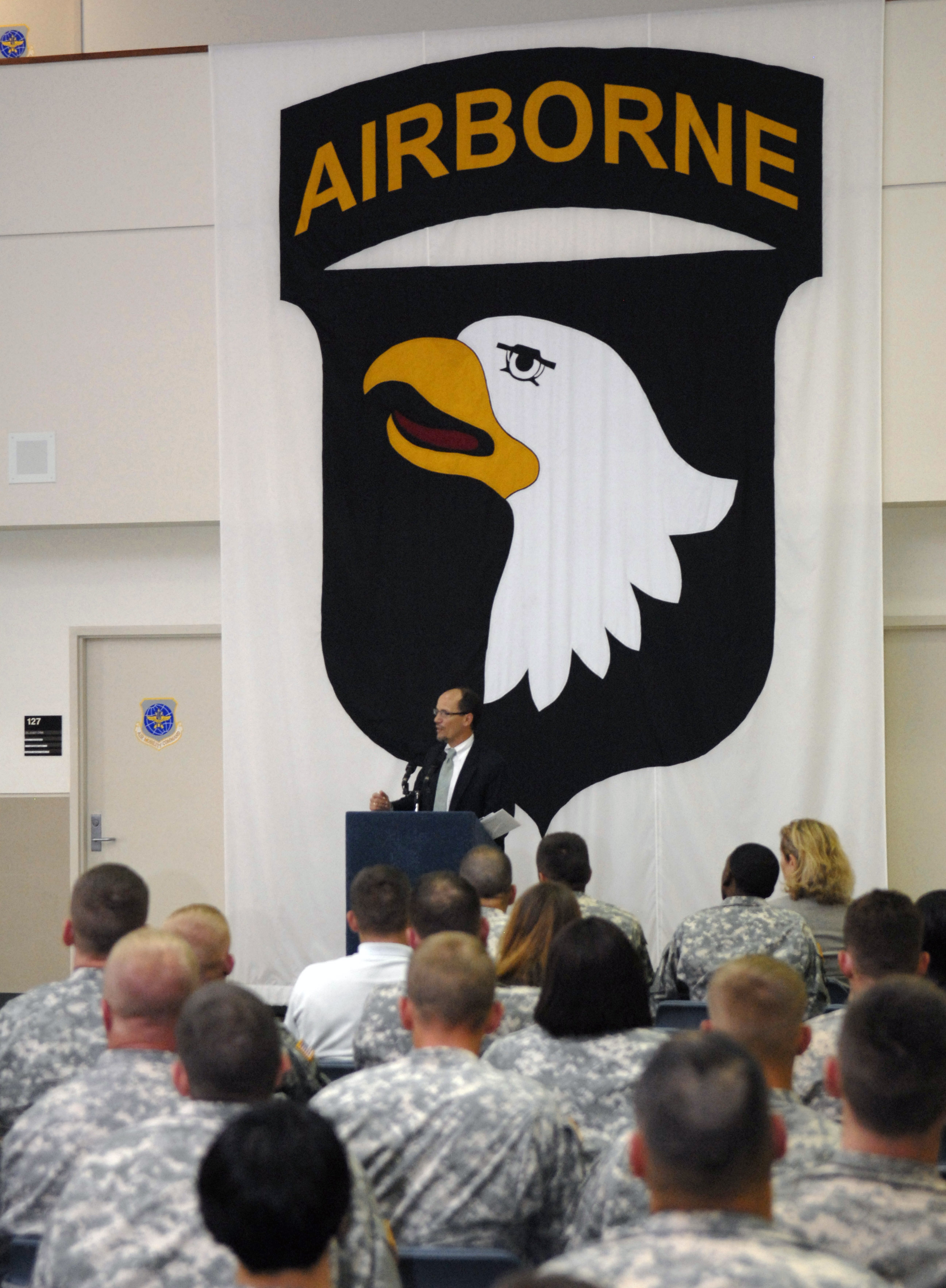 Thomas E. Perez, Assistant Attorney General for the Civil Rights Division of the United States Department of Justice speaks with Soldiers from the 101st Airborne Division at Fort Campbell during a special town hall meeting on May 17, 2012