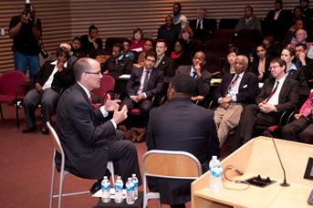 Thomas Perez, Assistant Attorney General for Civil Rights, speaks at the U.S. Attorney's Forum on Civil Rights at the Damon J.Keith Center at Wayne State University.