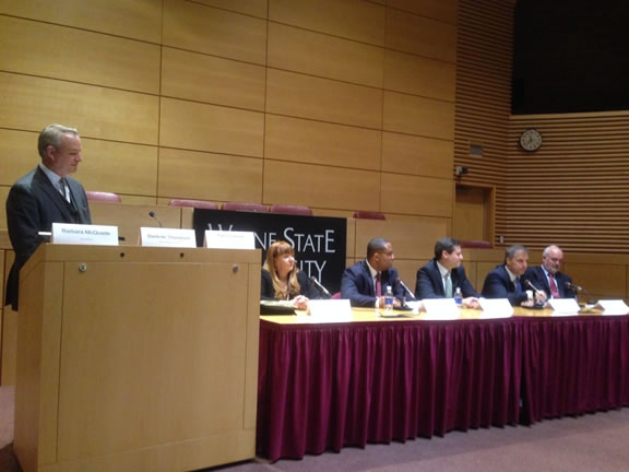 Public Corruption Unit Chief Mark Chutkow joined other leaders from business, law enforcement, government, academia and the community to share lessons learned from recent cases at a summit on public integrity and good governance at Wayne State University.