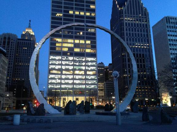 "The ""Transcending"" sculpture in Hart Plaza commemorates Detroit's labor legacy.  Photo by Assistant U.S. Attorney Craig Weier."