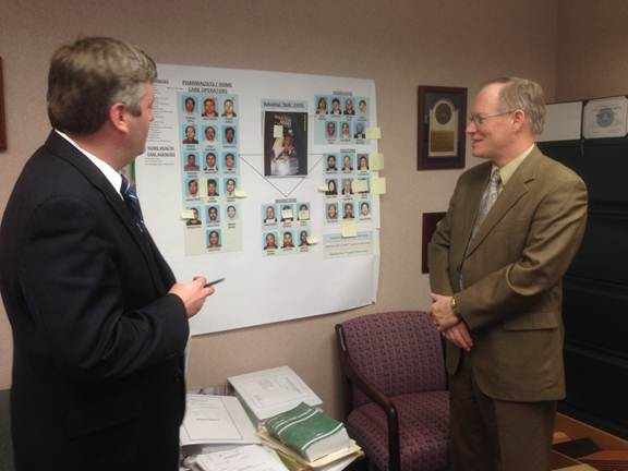 Assistant U.S. Attorney John Neal and Health Care Fraud Unit Chief Wayne Pratt discuss a health care fraud conspiracy case.