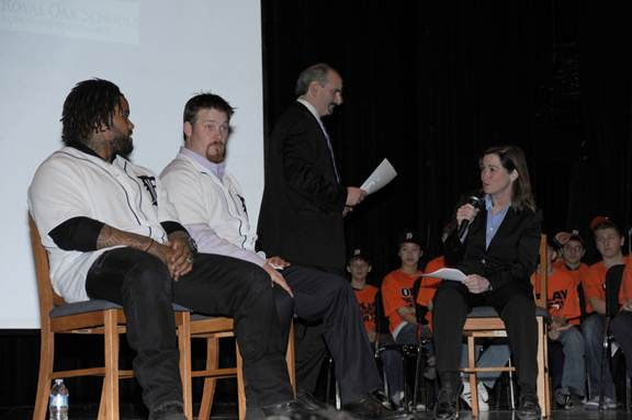 Detroit Tigers Prince Fielder and Phil Coke and play-by-play announcer Mario Impemba discussed anti-bullying strategies with Royal Oak middle school students.