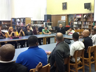 Law enforcement leaders meet with high school students in Detroit