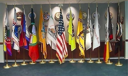 Flags of the Twelve Sovereign Indian Nations in the State of Michigan and the Flag of the United States of America